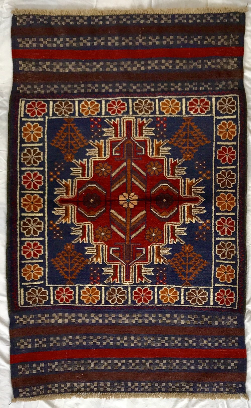 BALUCHI TRIBAL AFGHAN RUG - ORANGE (0.83X1.35)