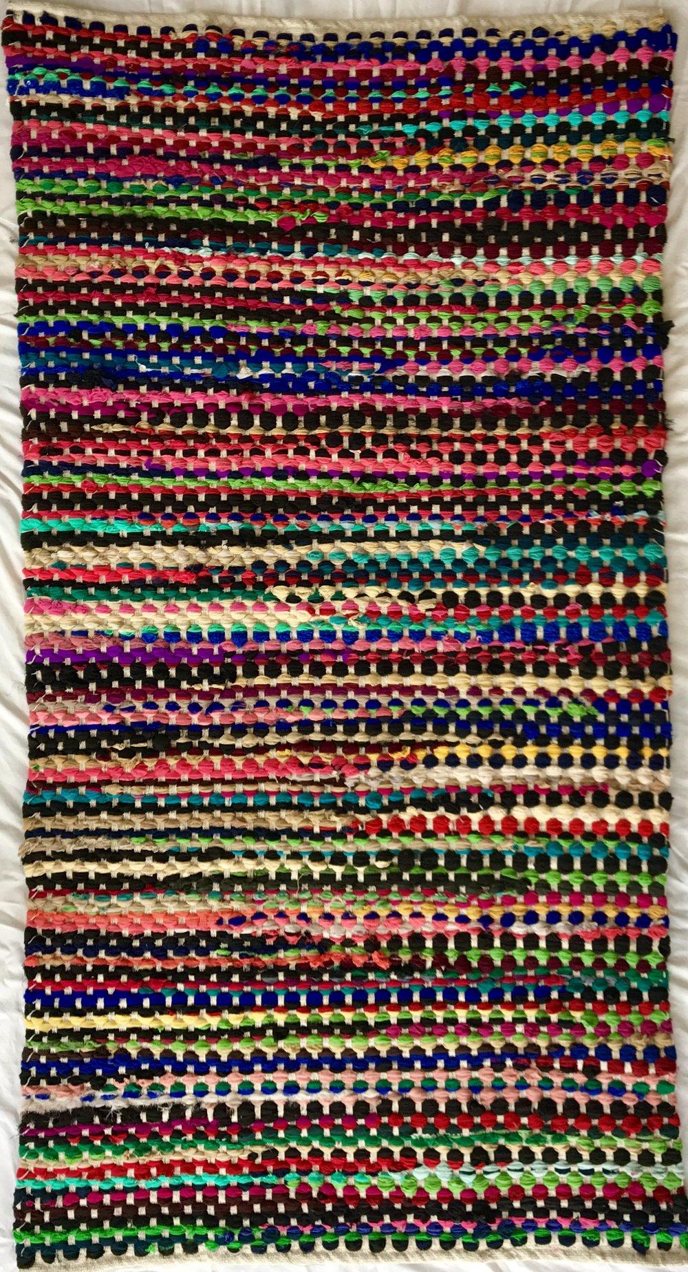 Multicolor woven Chindi rug (91 x 152 cm)