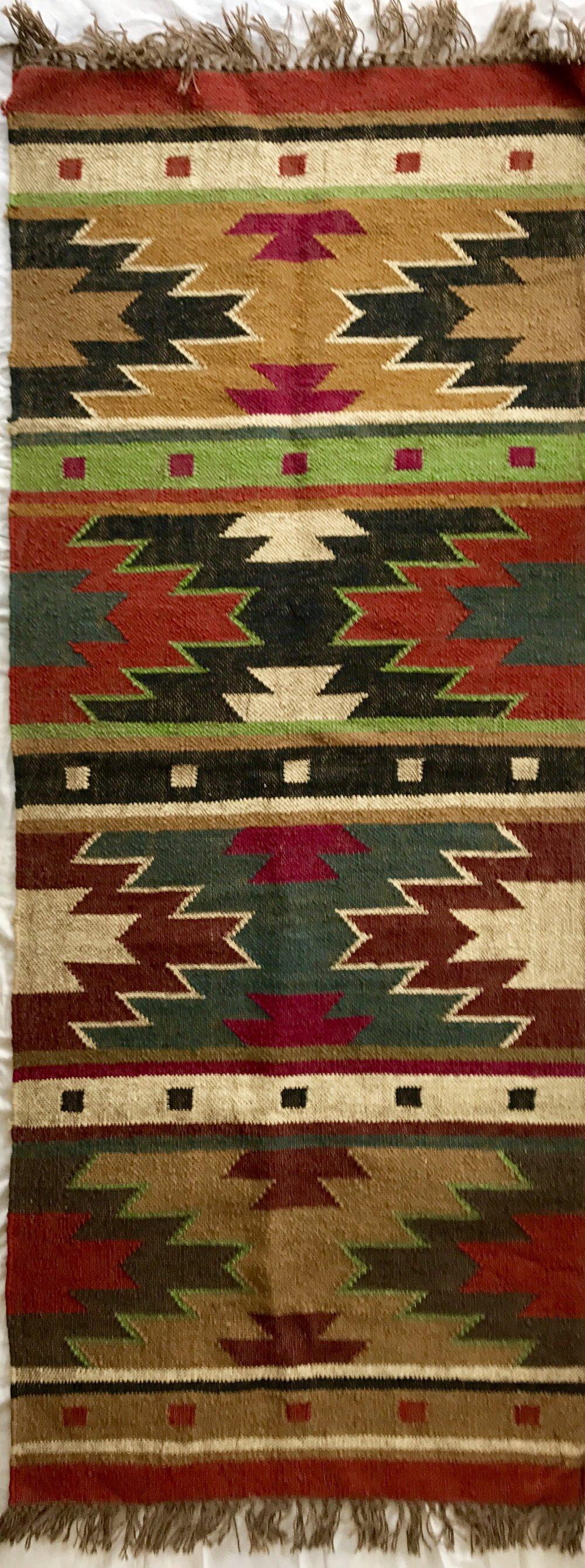 Kilim flat weave geometric rug (77 x 183 cm)