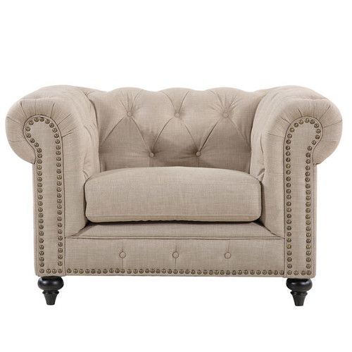 CHESTERFIELD ARMCHAIR - NATURAL