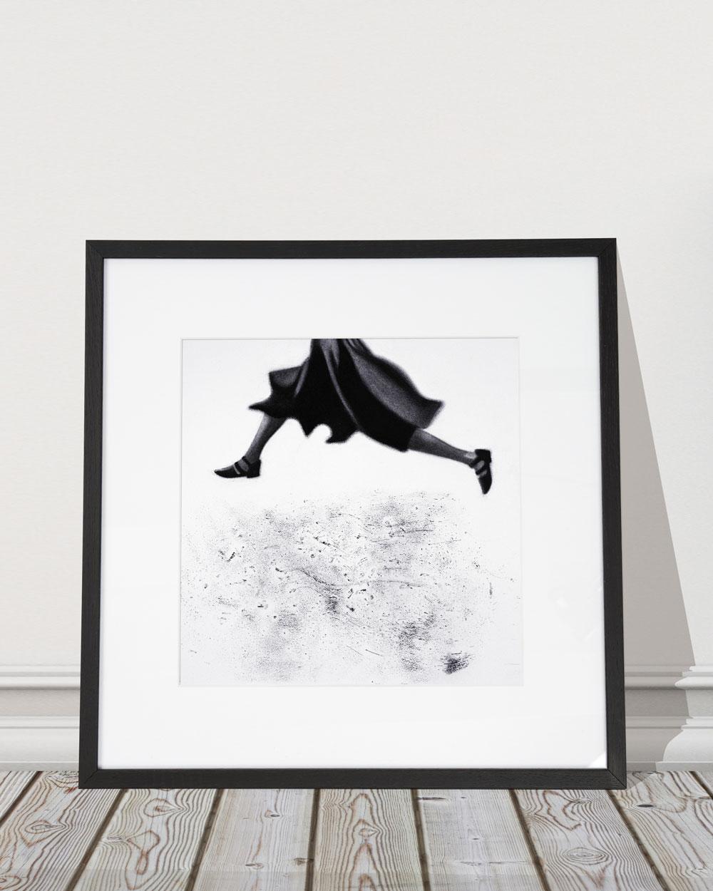 """""""Leap"""" (charcoal on paper),by David Lyon Art"""