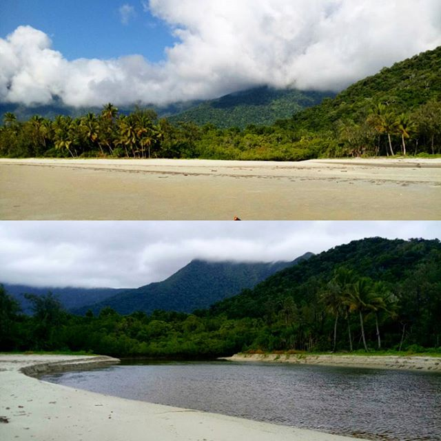 In #capetribulation, the power of the water in the #wetseason is an awesome sight! Masons creek mouth on #Myallbeach has blown out to over 50m wide!
