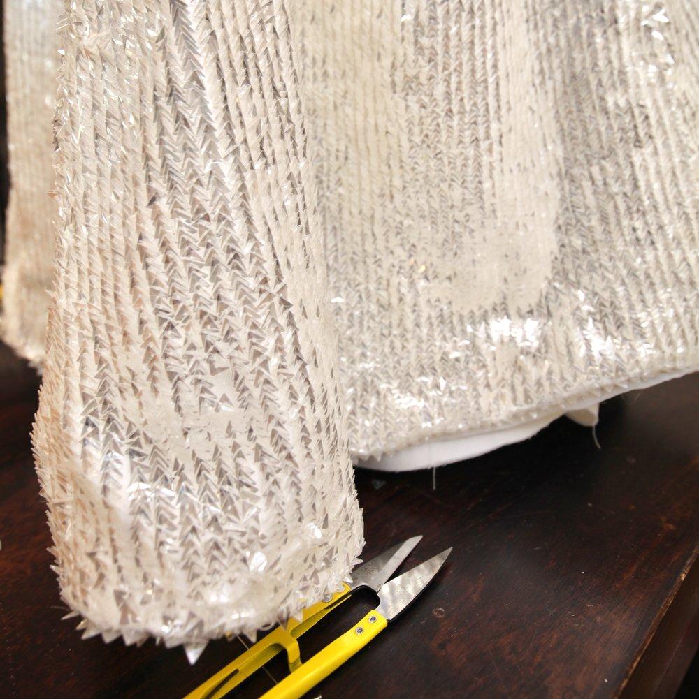 heming  bridal gown sequin fabric main