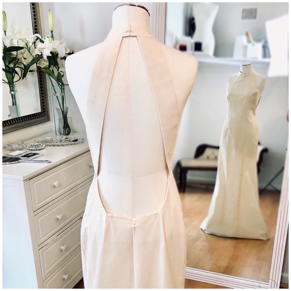 Halter neck gowning away bridal gown toile