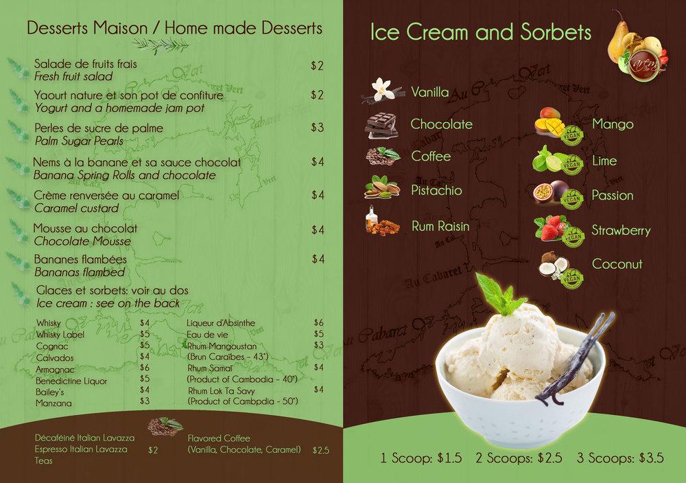 Carte Dessert  Au Cabaret Vert  (Battambang, Cambodge)