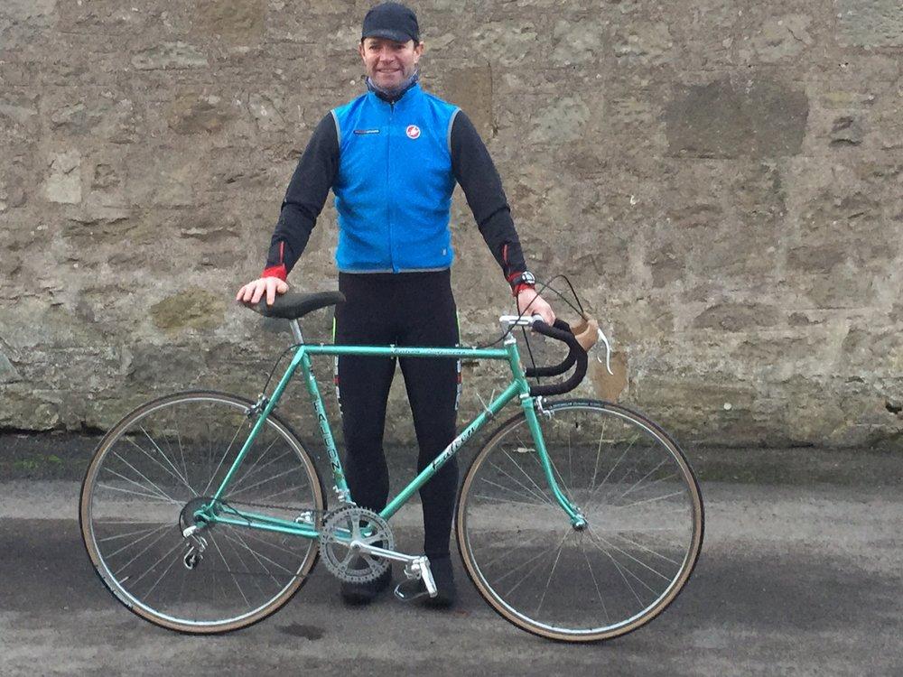 John preparing to ride his fully restored Falcon Professional