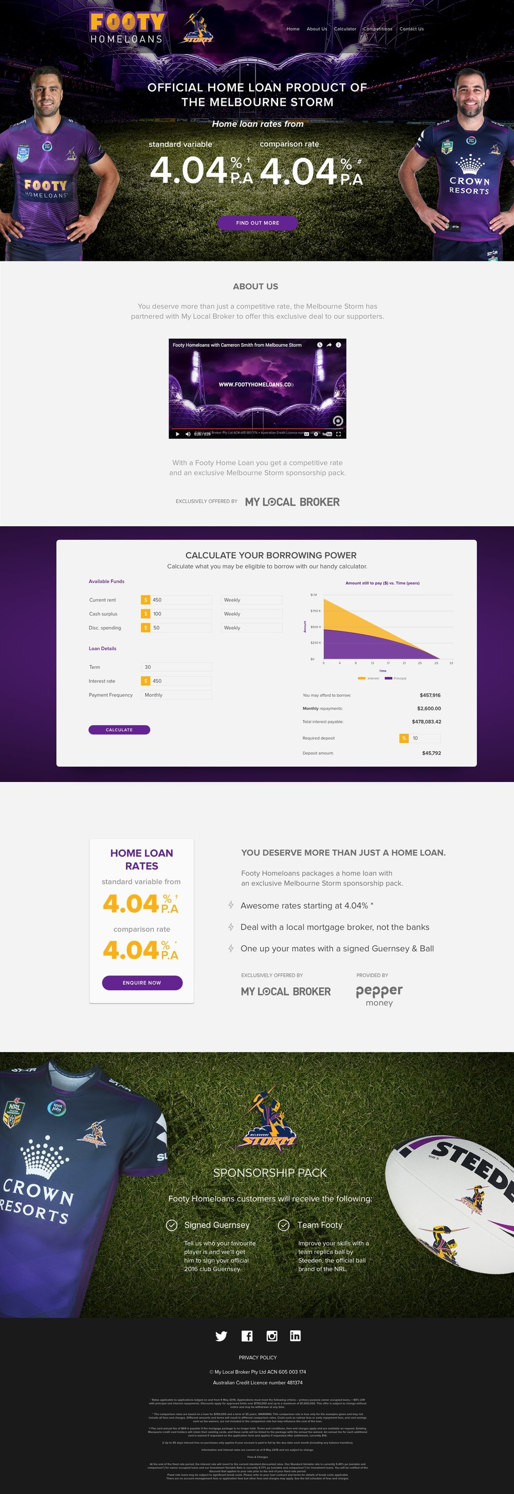 - The goal with this landing page was to create a website that fans of theMelbourne Storm could instantly feel trusted and can contact thereclosest mortgage broker to help finalise the deal.We created two versions for the landing page one which was very copy heavy and simplified version, after testing the two the simplifiedversion got more traction.