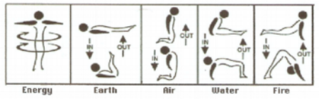 These Five Tibetan Exercises or rites, combine spinning with four Yoga movements. The spinning subjects the whole body to a centrifugal force while the four other exercises realign the four alchemic elements (Earth, Fire, Water and Air) along the spinal column.  ARROWS:  IN/OUT on the  indicate recommended breathing.