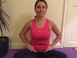 Chin mudra placed in groin and breathing in through the lower lobes