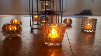 Candles lit on Yoga Workshop