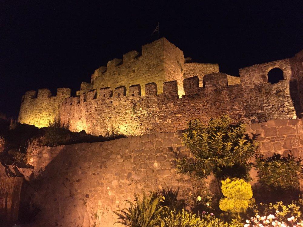 Molyvos castle at night