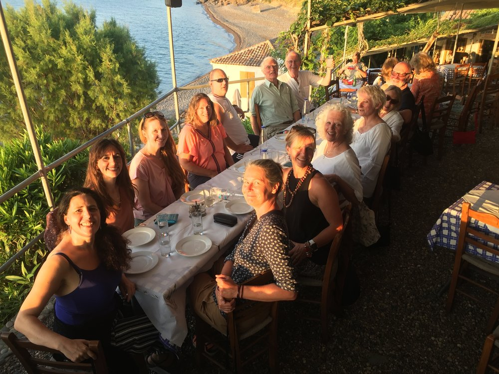 Group meal at the Golden Beach in Eftalou