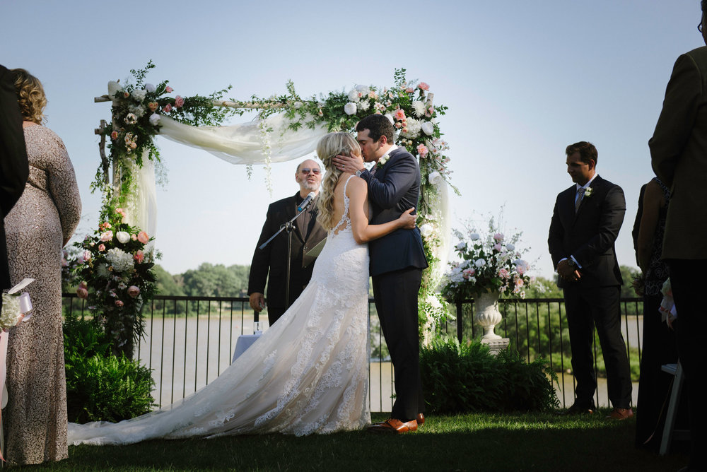 Ashley + Brent - A picture perfect day in July with beautiful blooms, gorgeous cake, stunning ceremony and a cute couple. We've got it all right here!