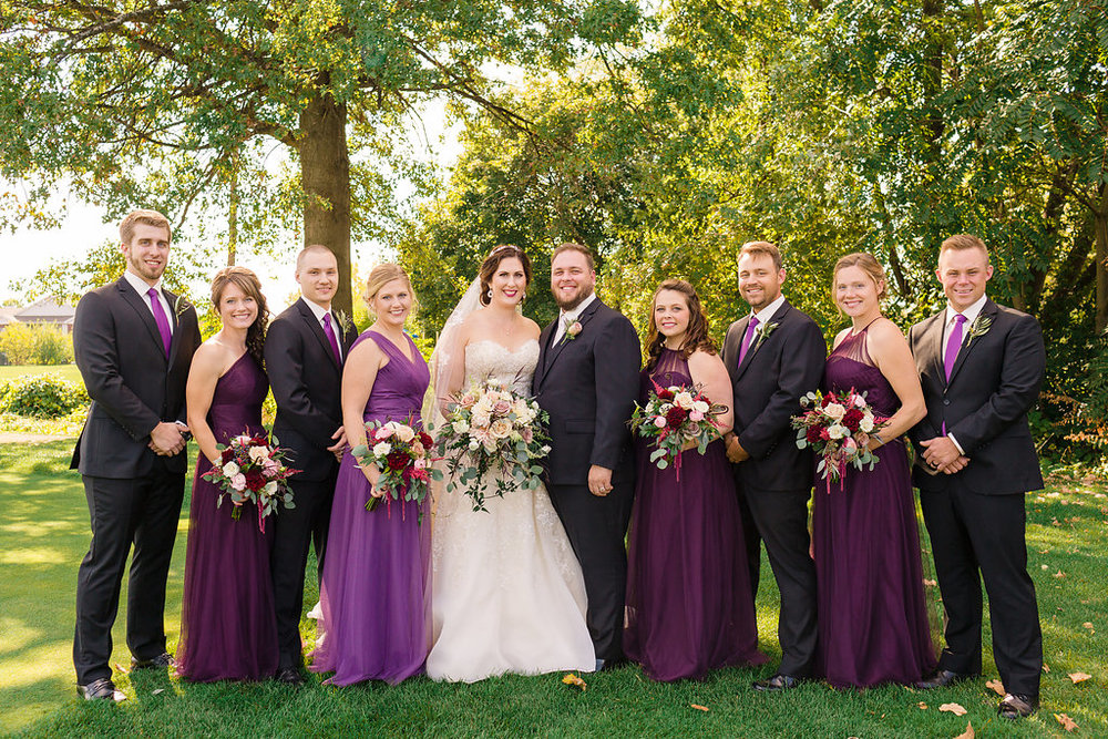 Shanna + Jeremy - Combining traditional elegance with 2018's color of the year, this Toledo wedding includes bridesmaids in purple and dreamy bouquets.