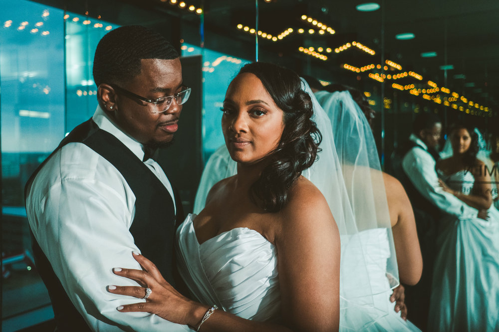 Jennifer + Michael - When rain is in the forecast you move to Plan B - capturing stunning portraits inside The Renaissance Hotel that never seems to disappoint.