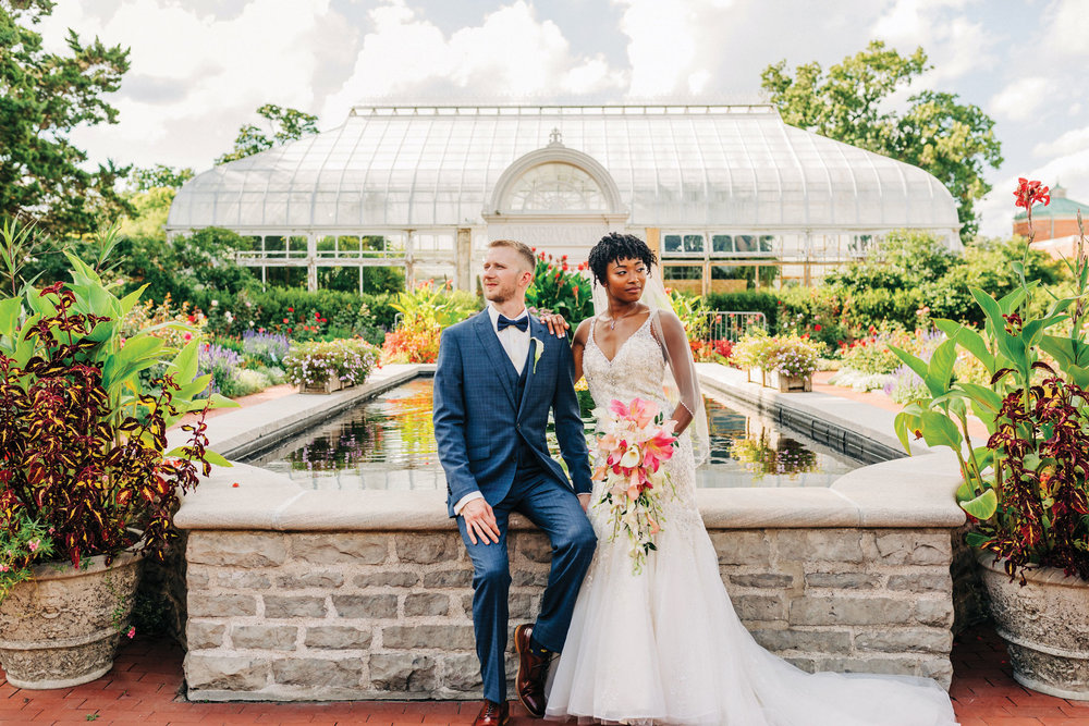 Charlotte + Jon - Set at the Toledo Zoo, this couple promised their love and devotion in the formal gardens.