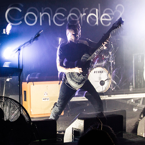 Testimonials - Ben Weinman of The Dillinger Escape Plan playing Burntaxe etched signature guitar at concorde 2 in Brighton