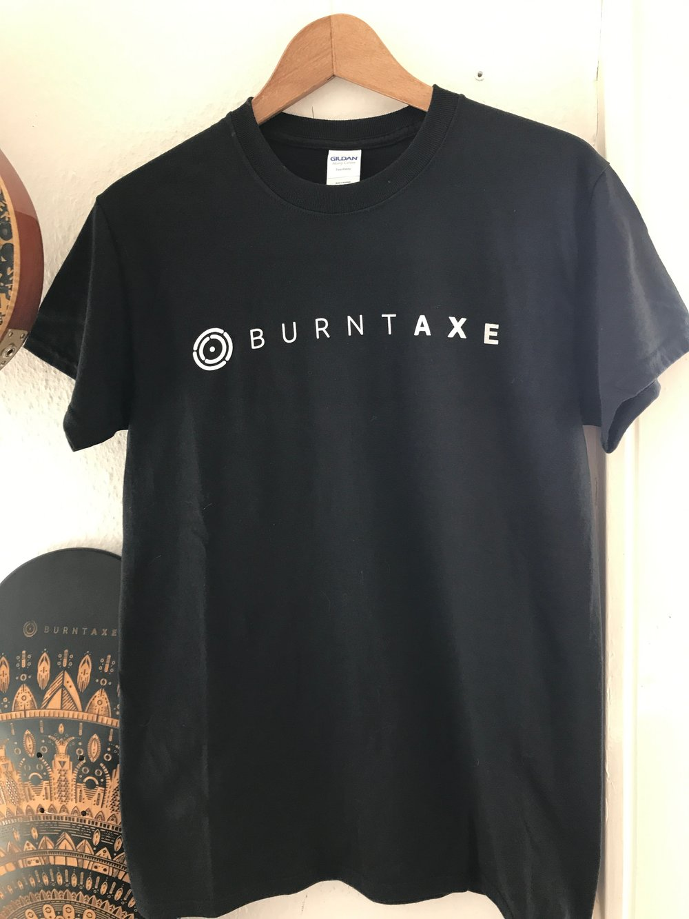Black heavyweight Straight Fit White Burntaxe logo T-shirt