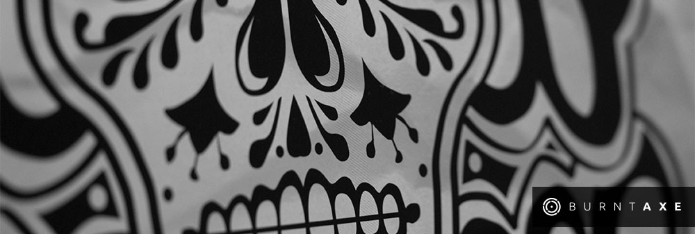Candy Skull day of the dead mexican skull design for burntaxe by Ella Simpson brighton based laser etch design UK