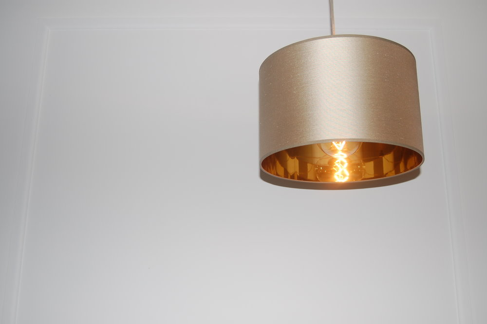 Copper and silk lampshades