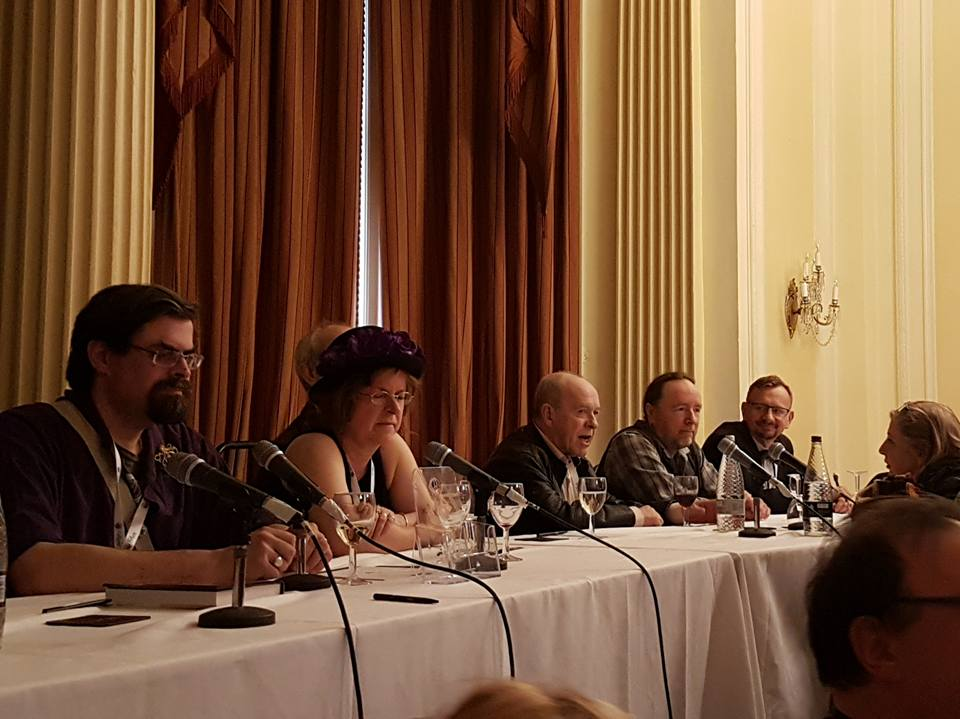 "From left to right: Adrian Tchaikovsky, Jaine Fenn, Ian Watson, Andy West and yours truly enjoying Ian's speed-of-thought summary of ""Assassins' Legacy"". Photo Chrissy Leonhardt"