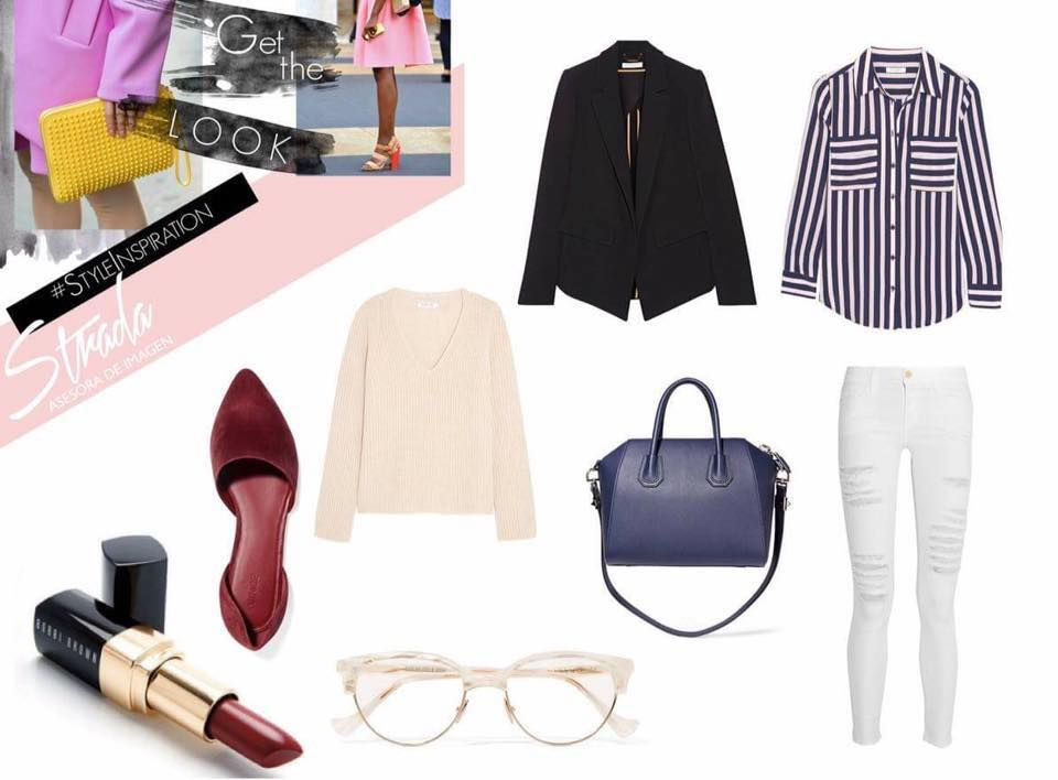 Red liptick:  BOBBI BROWN COSMETICS    Tote bag:  GIVENCHY   Ripped jeans:  AMERICAN EAGLE   Sunnies:  CUTLER AND GROSS   Stripe Shirt:  NET - A- PORTER   Blazer:  ZARA