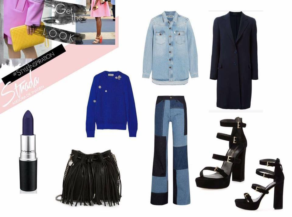 Jeans :  VICTORIA BECKHAM   Fringed bag:  ASOS   Navy blue coat:  CHLOÉ   Denim Shirt:  STRADIVARIOUS   Heels:  NET- A- PORTER