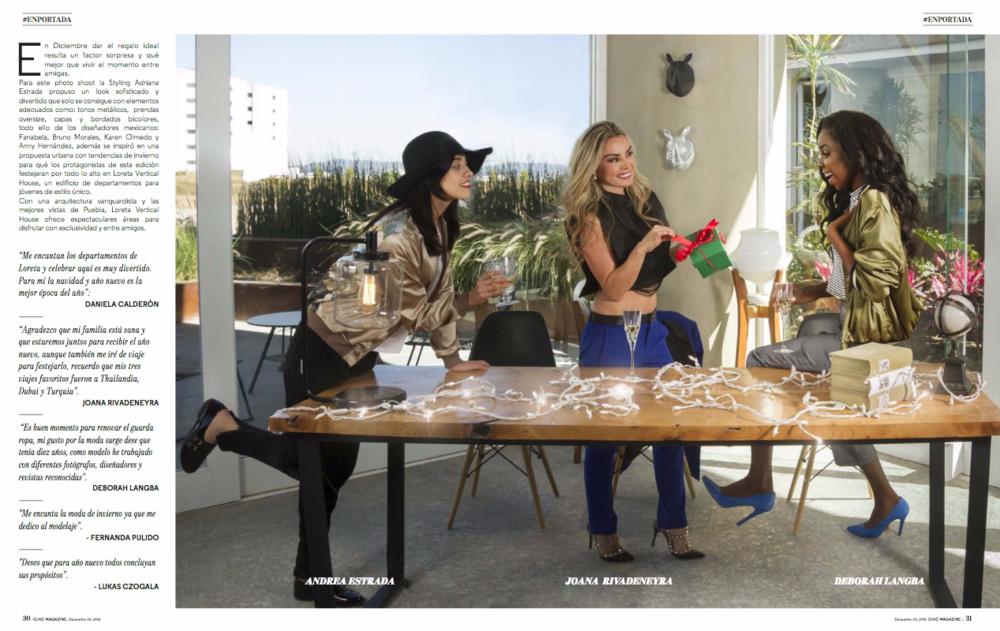 Andrea Strada:  Bomber Jacket - Limón Limón / Fedora - Stradivarius   Joana Rivadeneyra:  Pantalones- Massimo Dutti / Top negro - Fanabela / Stilettos - Valentino   Deborah Langba:  Bomber Jacket - Zara / Pantalones - Bruno Morales