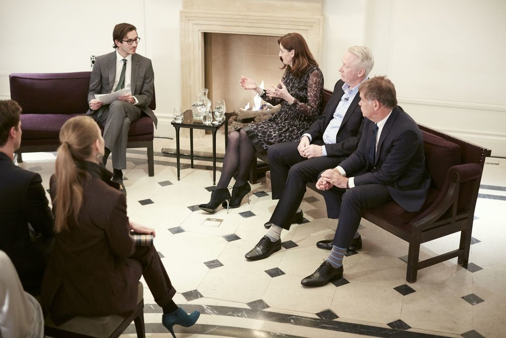 James Wright and panelists Amanda Berry, Paul Webster and Stewart Till at the Burberry So It Goes event at Thomas's, London, 9th February 2016