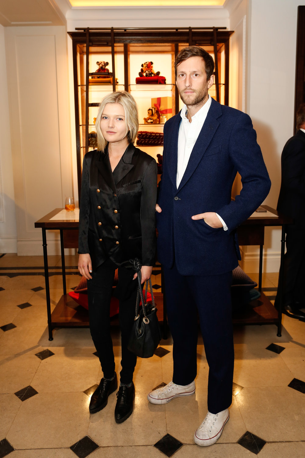 Sophie Kennedy Clark wearing Burberry with guest at the Burberry So It Goes event at Thomas's, London, 9th February 2016