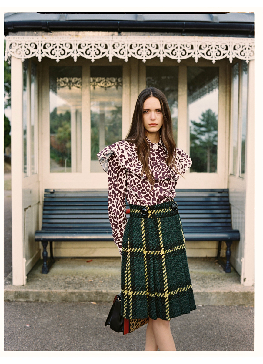 Shirt and skirt: Miu Miu