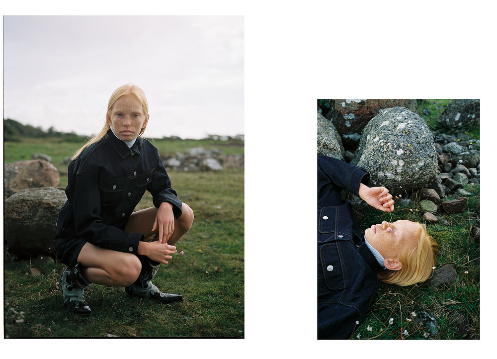Jacket and shorts: Acne Studios; Boots: Stylist's own
