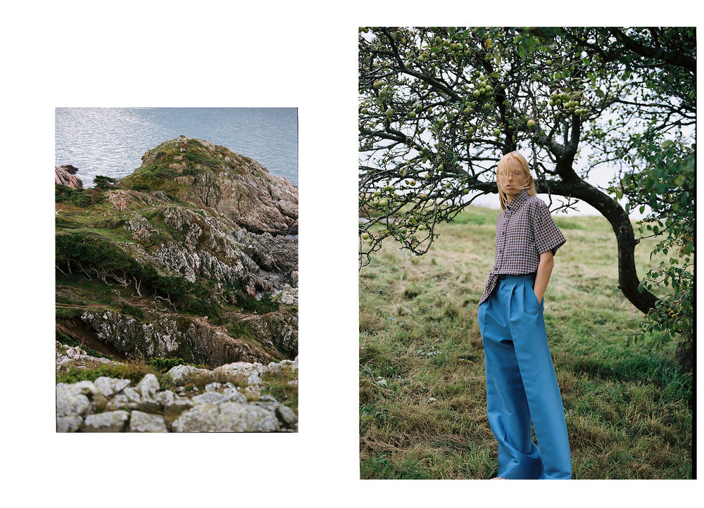 Shirt: Acne Studios; Trousers: Angelica Eichler