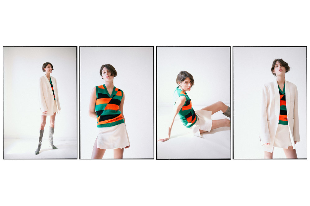 Skirt & blazer: Joseph;Vest: Miu Miu;Boots, Tibi; Necklace: Meadowlark; Earring: Sarah & Sebastian