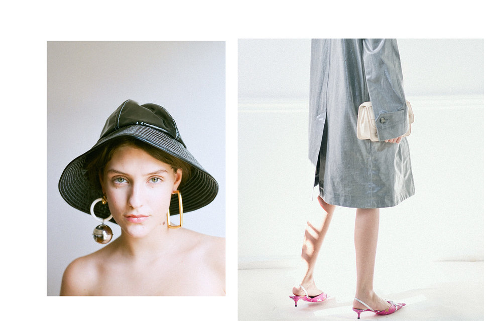 LEFT Hat: Glazed NYC; Earrings: Balenciaga.  RIGHT Coat: Helmut Lang; Bag: Benedetta Bruzziches; Shoes: Balenciaga.
