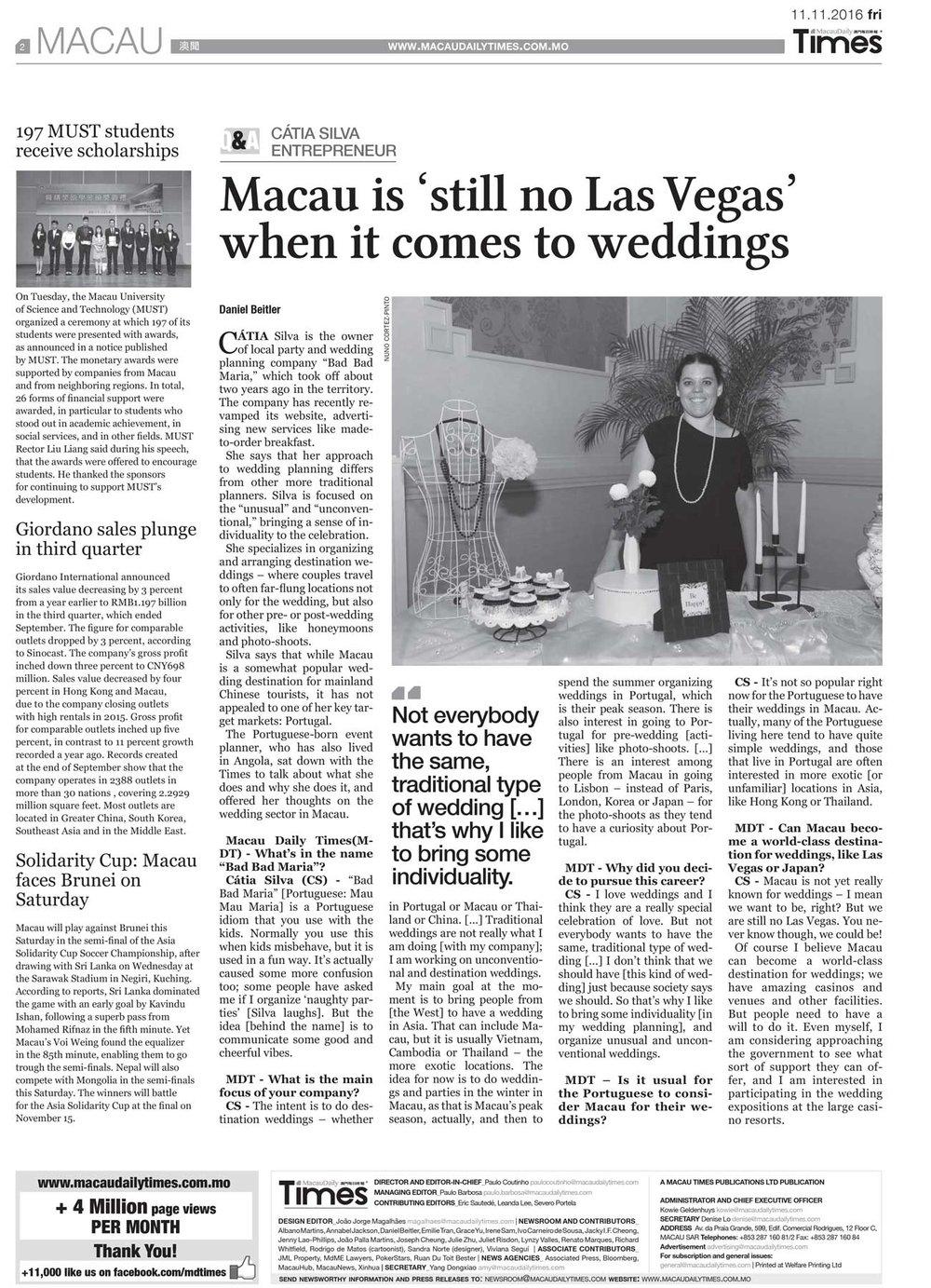 Macau Daily Times, Novembro 2016