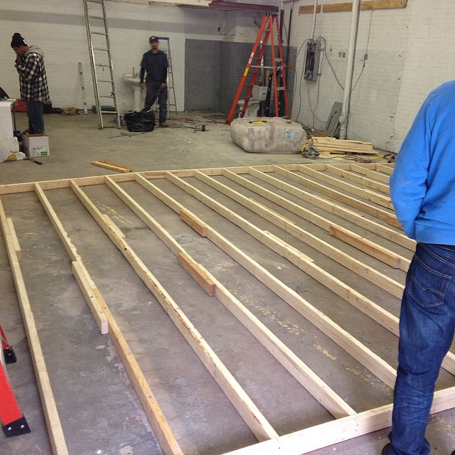 Laying down the floating floor.