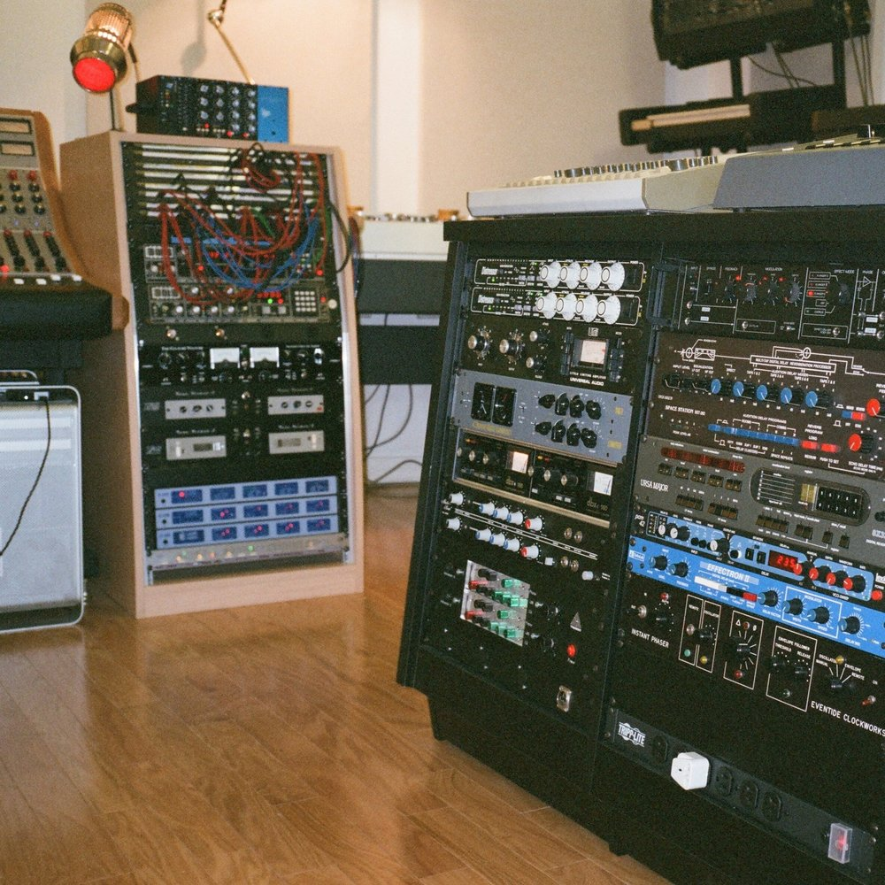 Some of our racks of outboards, compressors, EQs, Reverbs, Delays. Lexicon, Chandler, Distressor, Urei, Space Station...