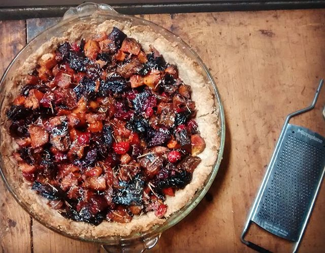 Roasted root tart for a farmer roundtable & potluck #strategicplanning #exchange #herbs #rustic #parsnips #beets #rutabaga #winterwheat #potluck
