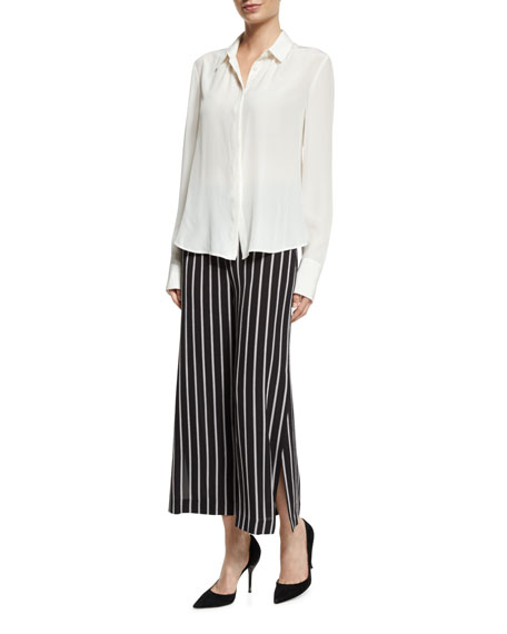Unfortunately the striped culottes from Zara that Maryvi wore in the video is no longer available but here is a close second from Neiman Marcus.