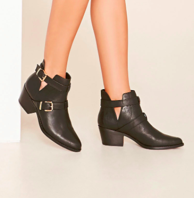 Maryvi scored some complements when filming the video about her buckled boots. While her exact pair aren't available at Forever21 anymore, above is a close alternative.