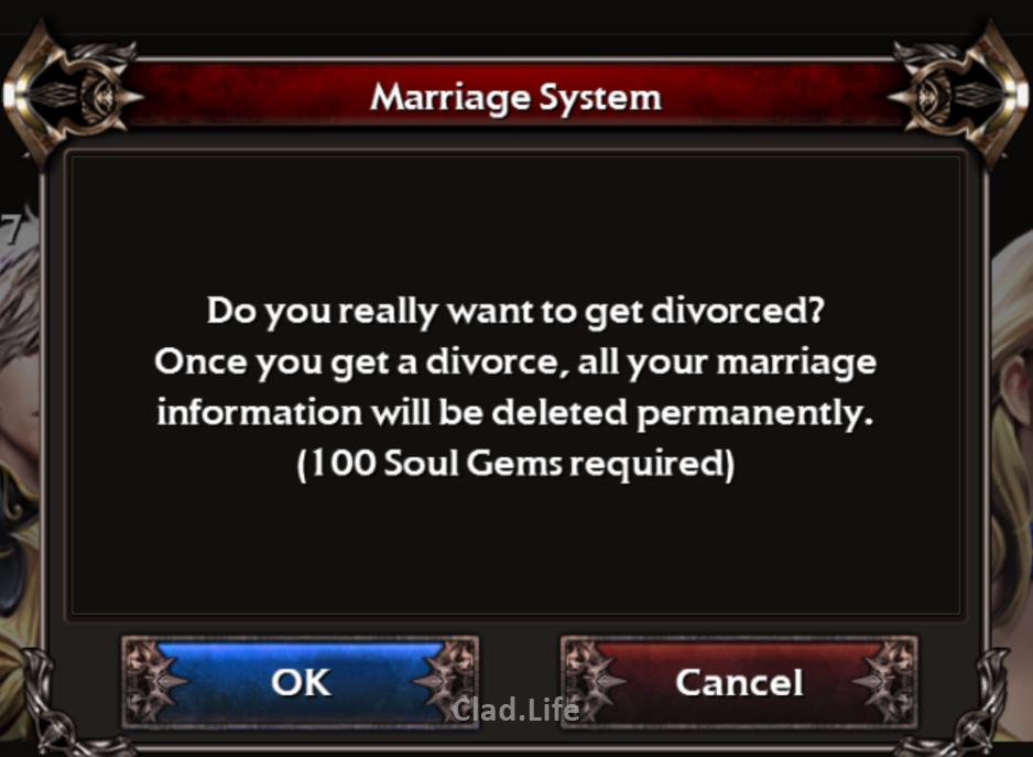 Divorce Fee in Legion Of Heroes