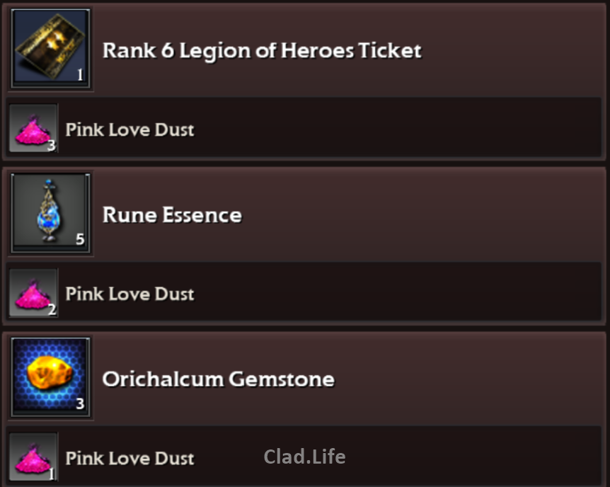 List Of Items That Can Be Exchanged Using Pink Dust (I omitted the gold bars as gold is relatively easier to farm)