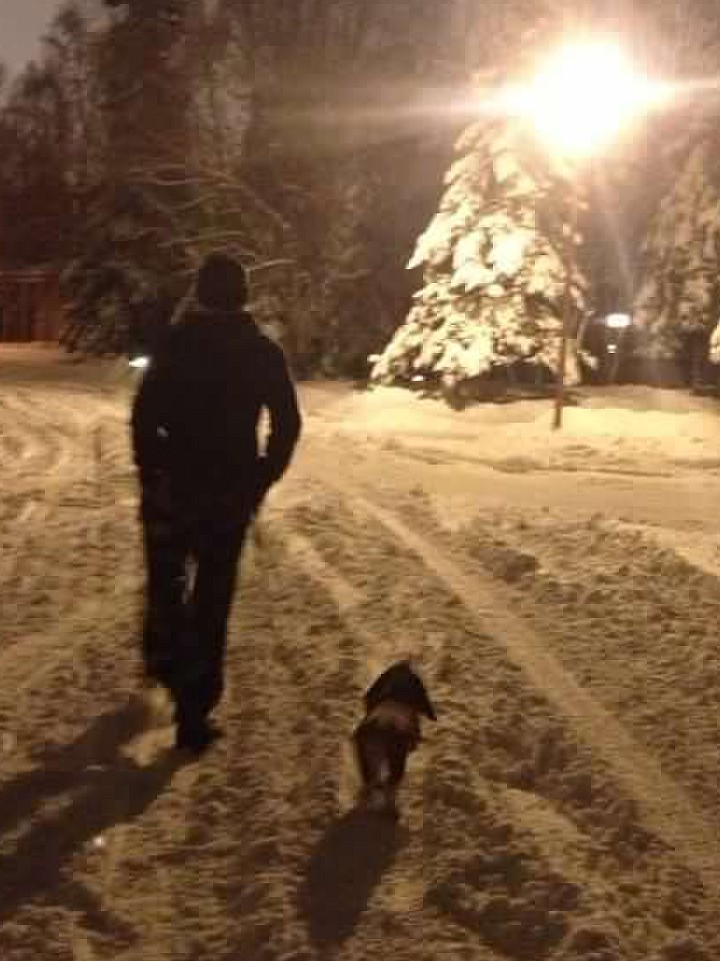 Dad and coco at night walking away in snow with light.jpg