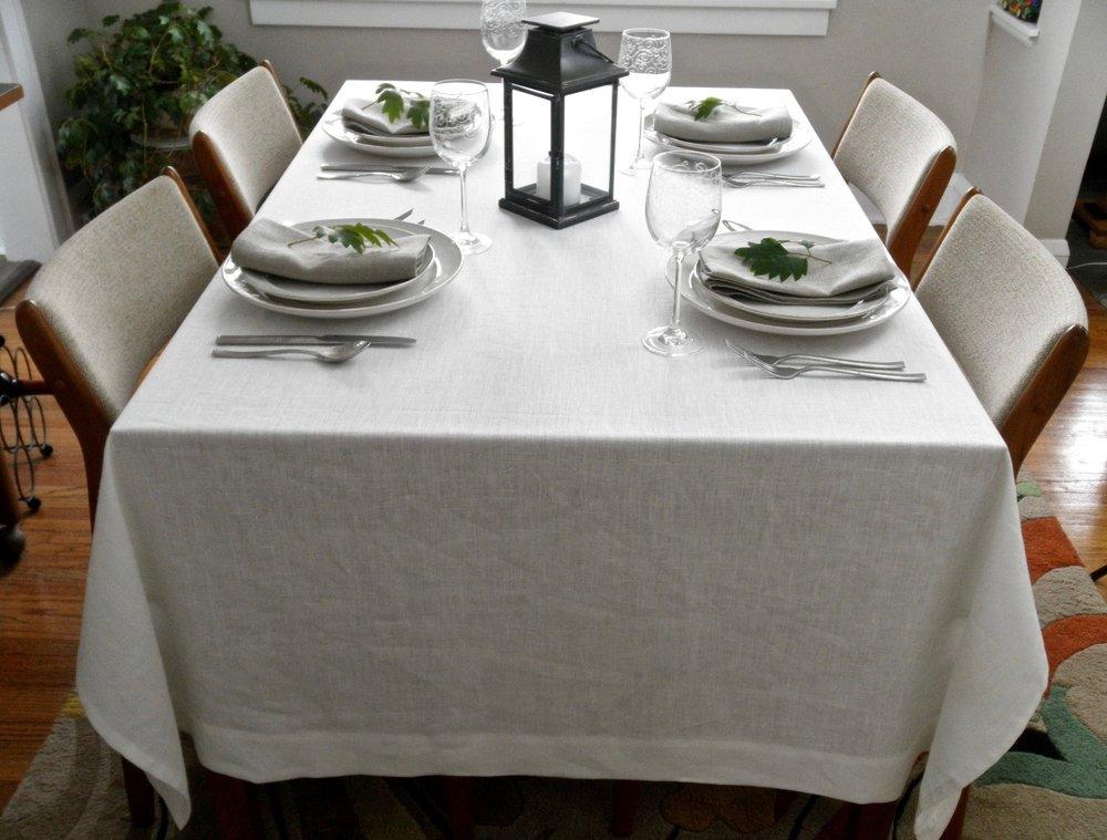 Tablecloth, Table Linens, Linen Tablecloth, Boho Chic, Minimalist Decor,  White Linen