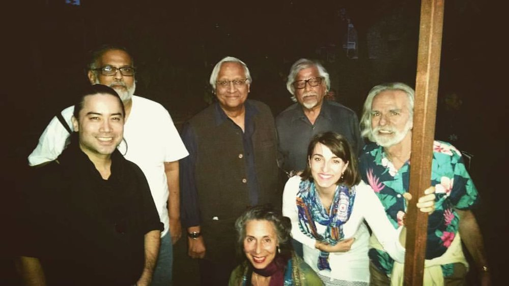Joel Hanna, Tushar Gandhi, Bunker Roy, Arun Ghandhi, Bill Vanaver, Miranda Ten Broeke, and Livia Vanaver during the Gandhi Legacy Tour at The Barefoot College in Tilonia, India.