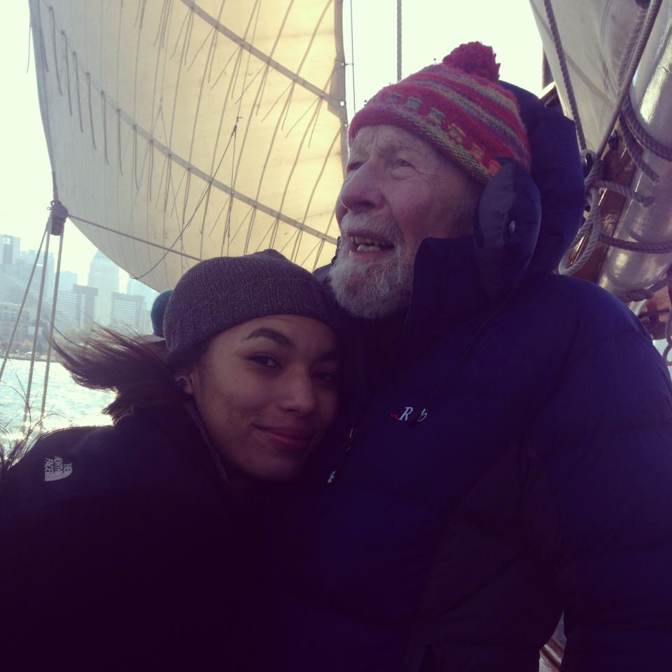 Moraya and Pete Seeger on the Sloop Clearwater. 2013.