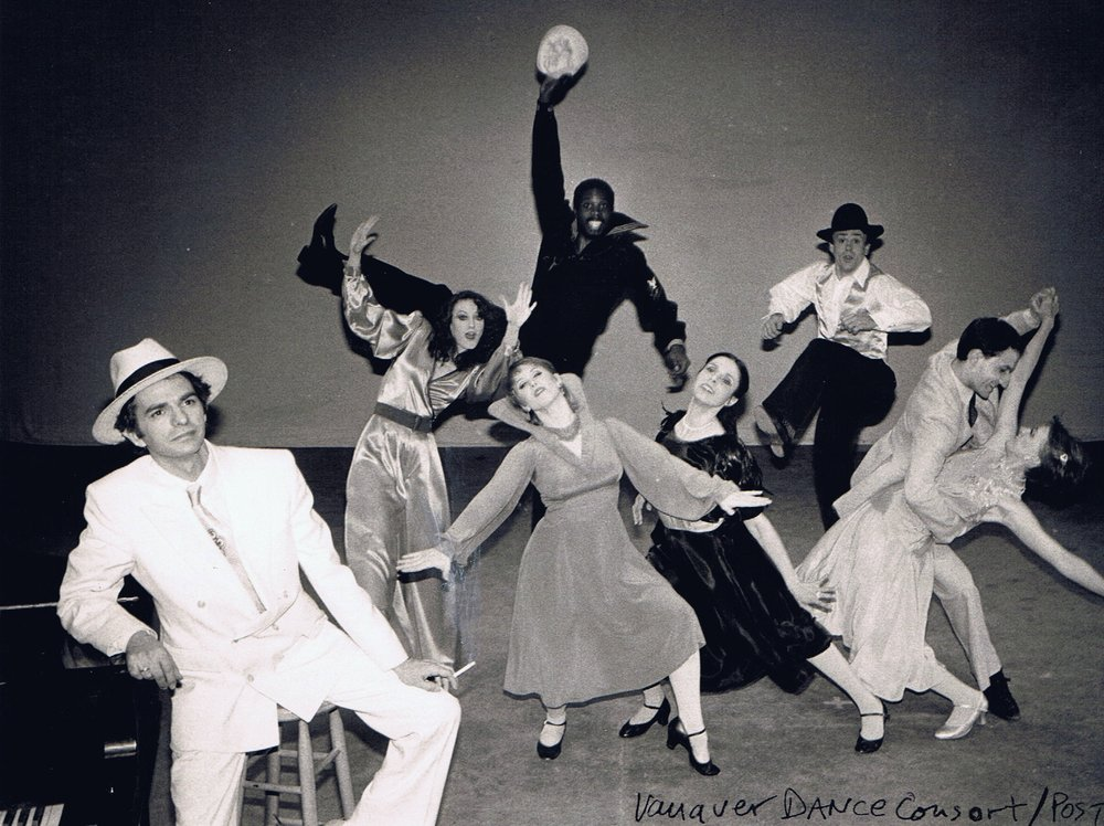The Vanaver Caravan Company, circa 1983. Dancers from left to right: Bill Vanaver, Sharon Burnston, Rachel List, Calvin Smith, Livia Vanaver,  Ted McKnight , Toni Smith, Byron Richards. Dance: Tribute to Hoary Carmichael, choreographed by Brenda Bufalino.