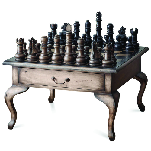 26491 Gentleman\'s Chess Table 2 Drawer with Chess Set Red Tree ...