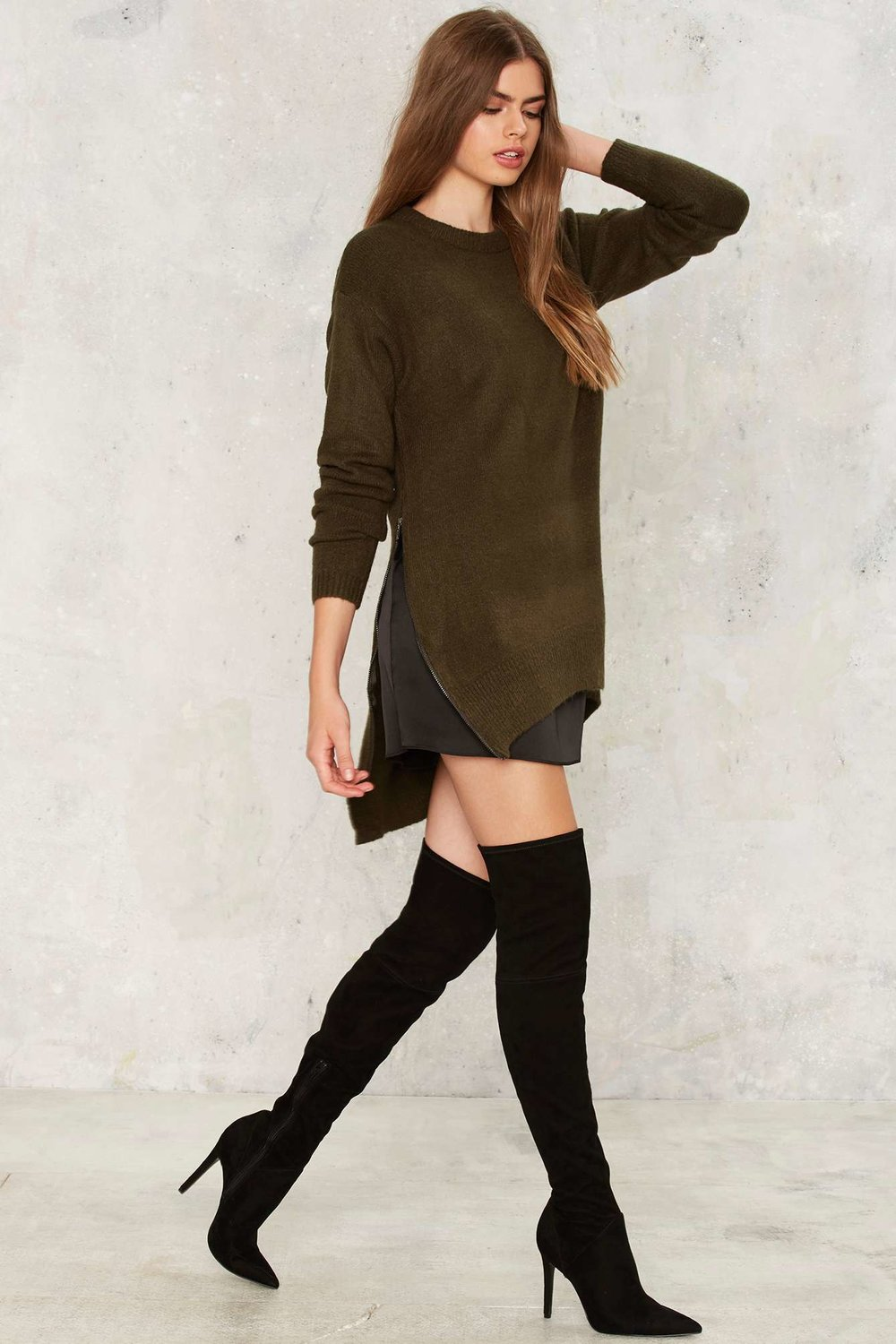 Nasty Gal | Side Ways Zip Sweater